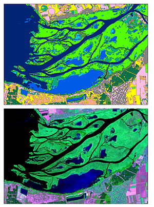 Dnieper - satellite image of the Dnieper river estuary, captured 8-Aug 2015