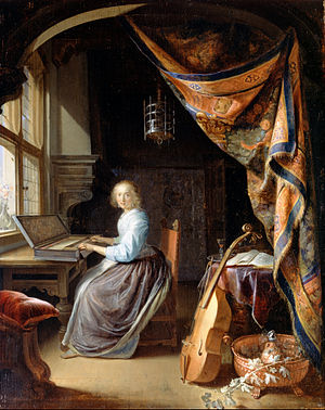 Gerrit Dou - A Woman playing a Clavichord, c. 1665