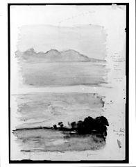 Double Study of Dawn, Moorea Seen across the Water, Tahiti