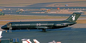 Playboy Club - The Playboy Club's Douglas DC-9 jet airliner executive aircraft at Chicago O'Hare International Airport in 1975. It was used for transporting guests and staff.