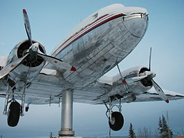 De DC-3 windwijzer van Whitehorse International Airport