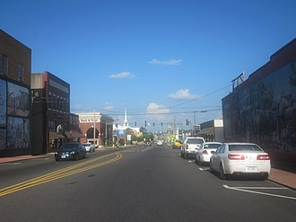 U.S. Route 82 - US 82B running as Main Street through the Magnolia Commercial Historic District in Magnolia, Arkansas