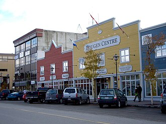 Whitehorse, Yukon - Main Street in Downtown Whitehorse. Downtown is the central business district for the area.
