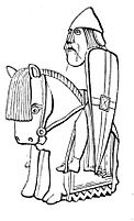 Drawing of Lewis chessmen Knight, c.1845.jpg