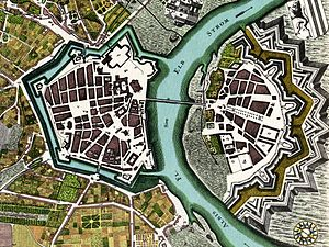 Zwinger (Dresden) - Plan of the city of Dresden in 1750 with the fortifications by the Zwinger by Lynar (left half of the picture, north is to the right)