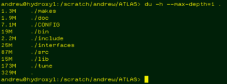 Du (Unix) - example screenshot of du in a terminal