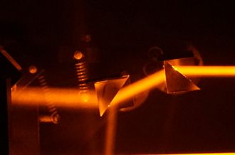 Multiple-prism dispersion theory - This multiple-prism arrangement is used with a diffraction grating to provide tuning in a dye laser.
