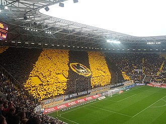 The K-Block terrace of the Rudolf-Harbig-Stadion. Dynamo Dresden kblock.jpg