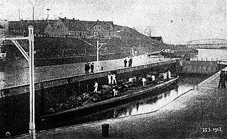 Elbe–Lübeck Canal - The Imperial German torpedo boat S65 making the first transit of the Elbe–Lübeck Canal by a warship in 1903