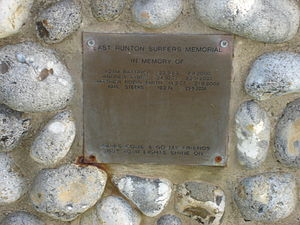 East Runton - Surfers' memorial plaque