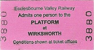 Platform ticket - Platform ticket of Ecclesbourne Valley Railway, England