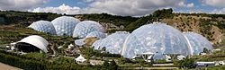 Panoramic view of the geodesic dome structures of the Eden Project.