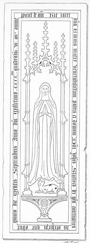 "John Stafford (bishop) - Effigy of Emma, mother of Archbishop John Stafford(d.1452), North Bradley Church, Wiltshire. Inscription in ledger-line: hic jacet d(omin)a Emma mater Venerabilissimi patris et domini D(omi)ni Joh(ann)is Stafford dei gra(tia) Cantuariensis Archiepi(scopi) qu(a)e obiit quinto die mensis Septembris anno d(omi)ni Mille(n)simo ccc.mo quadra(gen)s(i)mo vi.o cui(us) anime p(ro)piciet(ur) de(us) am(en) (""Here lies Lady Emma mother of the most venerable father and lord, Lord John Stafford by the grace of God Archbishop of Canterbury, who died on the 5th day of the month of September in the one thousandth four hundredth and sixth year of our Lord, on whose soul may God look with favour amen"""
