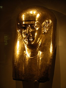 Egyptian funerary mask at the times of 30th dynasty (Gulbenkian Museum).jpg
