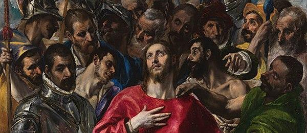 Detalle del Expolio. El Cabildo de la catedral que había encargado el cuadro encontró telógicamentelas incorrecto que las cabezas de la escolta sobrepasasen la de Cristo. El Greco se había inspirado en iconos bizantinos. Observese el contraste estético entre la quietud y melancolía del rostro del Salvador y los sombríos rostros que lo rodean.