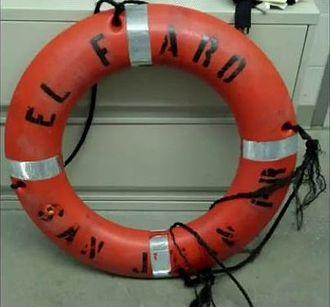 SS El Faro - Life ring recovered on October 3