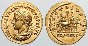 Elagabalus (deity) - Roman aureus depicting Elagabalus. The reverse reads Sanct Deo Soli Elagabal (To the Holy Sun God Elagabal), and depicts a four-horse, gold chariot carrying the holy stone of the Emesa temple.
