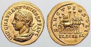 Elagabalus (deity) - Roman aureus depicting Elagabalus. The reverse reads Sanct Deo Soli Elagabal (To the Holy Sun God Elagabal), and depicts a four-horse, gold chariot carrying the holy stone of the Emesa temple.