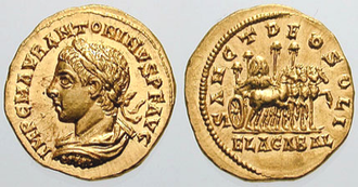 Royal family of Emesa - Roman aureus depicting Elagabalus. The reverse reads Sanct Deo Soli Elagabal (To the Holy Sun God Elagabal), and depicts a four-horse, gold chariot carrying the holy stone of the Emesa temple.