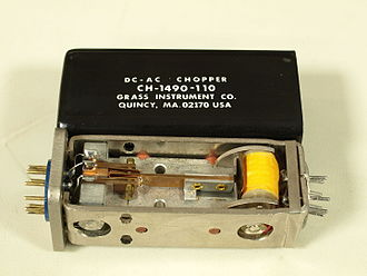 Vibrator (electronic) - An electro-mechanical vibrator from the Grass Instrument Co. Used as part of a chopper amplifier in polygraph input amplifier.