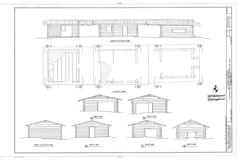 File elevations floor plan and sections m l ranch for Bunkhouse floor plans
