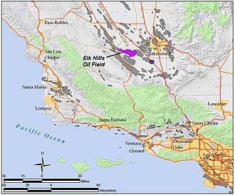Elk Hills Oil Field - The Elk Hills Oil Field in California, (purple). Other oil fields are shown in gray.