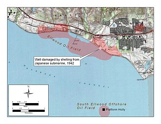 Bombardment of Ellwood - The Ellwood Oil Field and the location of the Japanese attack.