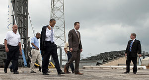 Elon Musk - Musk and President Barack Obama at the Falcon 9 launch site in 2010