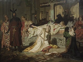 Gudrun - Kriemhild accuses Hagen of murdering Siegfried. Painting by Emil Lauffer, 1879