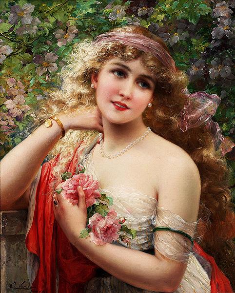 Le bouquet de roses roses représenté dans le tableau Le Printemps par le peintre Emile Vernon