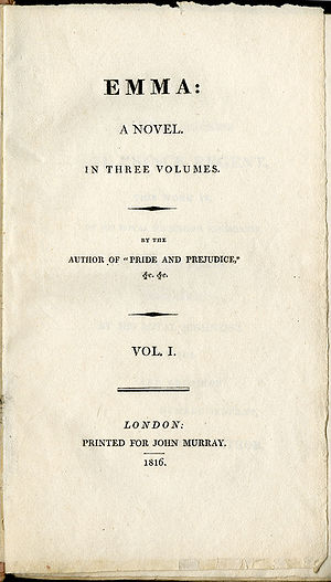 Emma (novel) - Title page of first edition, volume 1 of 3
