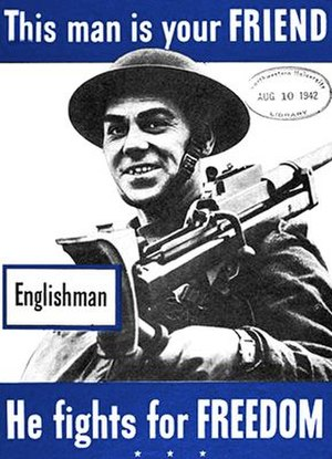 Boys anti-tank rifle - American Second World War poster featuring an English soldier carrying a Boys Rifle.