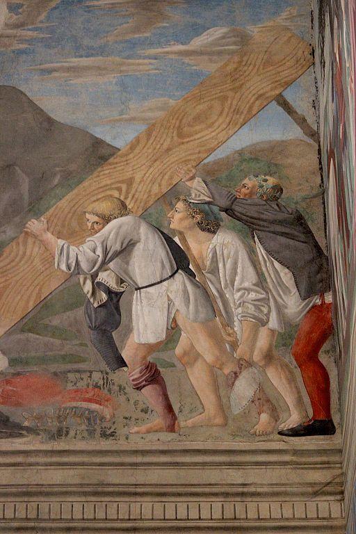 Piero della Francesca, Le Storie della Vera Croce, Sollevamento del legno della Croce, Capella Bacci, Basilica di San Francesco, Arezzo