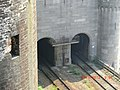 Entrance to Rail Bridge behind Conwy Castle - panoramio.jpg