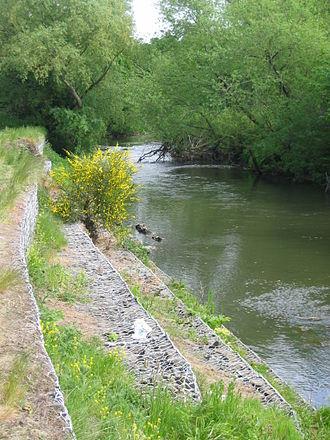 River Esk, Lothian - Image: Esk bank erosion