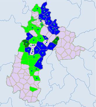 Liupanshui - Ethnic townships in Liupanshui except Liuzhi. Light green -Yi. Blue - miao. Dark green- Bouyei