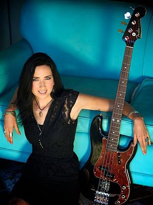 Eva Gardner - Eva Gardner with her signature Fender Precision bass