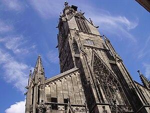 St. Mary's Church, Reutlingen - Main tower of St. Mary's Church in the center of Reutlingen.