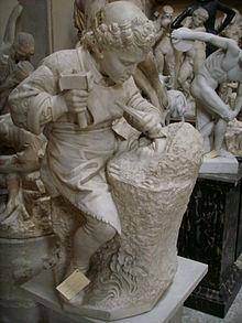 Copia da Cesare Zocchi, Michelangelo giovane scolpisce la testa di fauno, Studio Romanelli, Firenze