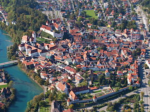 Füssen - October 2009 aerial view of Füssen
