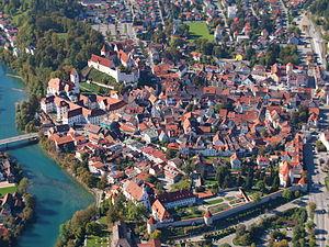 Füssen - October 2009 aerial view of Füssen