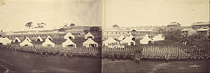 Yamate - British Military Garrison, Parade Ground, Yamate (c.1864) photographed by Felice Beato