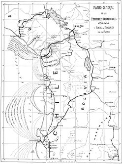 Map of the railroads from Arica and Antofagasta to Bolivia