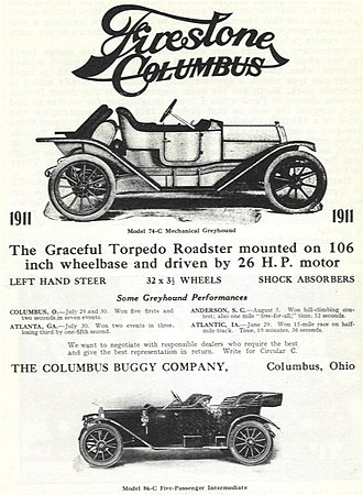 """Columbus Buggy Company - An advertisement for a 1911 """"Mechanical Greyhound"""" automobile produced by Columbus Buggy Co."""