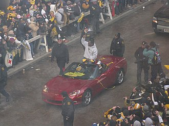 Mike Tomlin - Tomlin in the victory parade after winning Super Bowl XLIII.