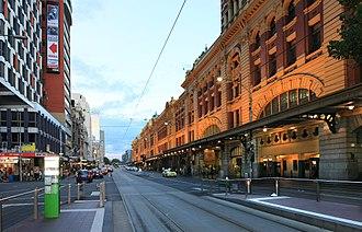 Flinders Street, Melbourne - Flinders Street, facing east from the intersection of Elizabeth Street