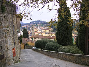 View to Fiesole in Florence, Italy