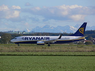 Memmingen Airport - Ryanair Boeing 737-800 at Memmingen Airport with the Bavarian Alps visible in the background