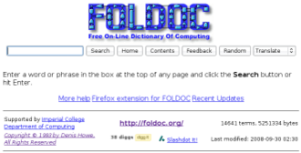 Free On-line Dictionary of Computing - Image: Foldoc screenshot