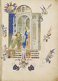 La vierge à un pupitre et l'ange Gabriel dans un bâtiment gothique